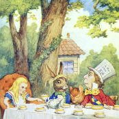 Oil painting reproductions - Domestic Animals - John Tenniel: The Mad Hatters Tea Party, illustration from Alice in Wonderland by Lewis Carroll 1832-9