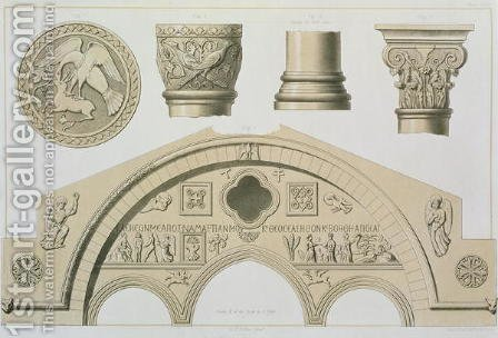 Details of a sculptured arch and columns from St. Sophias, Trebizond, pub. by Day and Son by (after) Texier, Charles Felix Marie - Reproduction Oil Painting