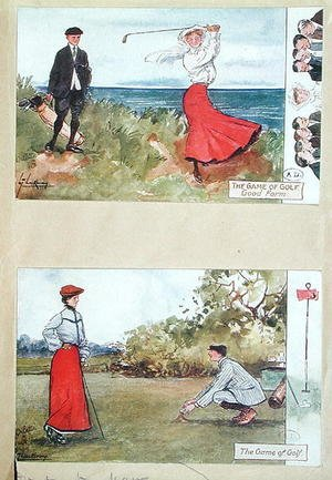 Famous paintings of Golf: Postcards depicting the game of golf, early 20th century