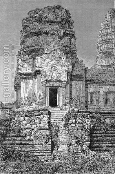 Angkor Wat, view of the second floor, book illustration from A Journey of Exploration in Indo-China, pub. c.1873 by (after) Therond, Emile Theodore - Reproduction Oil Painting