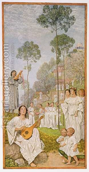 Heaven, illustration from Festkalender published in Leipzig c.1910 by Hans Thoma - Reproduction Oil Painting