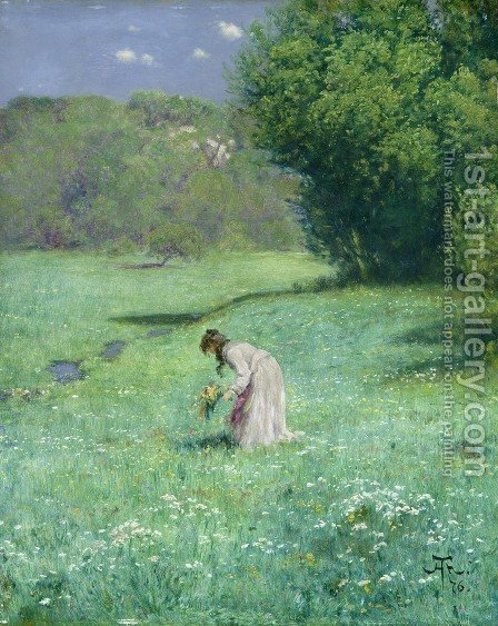 Woodland Meadow, 1876 by Hans Thoma - Reproduction Oil Painting