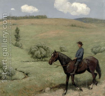 Rider in a Landscape, 1894 by Hans Thoma - Reproduction Oil Painting
