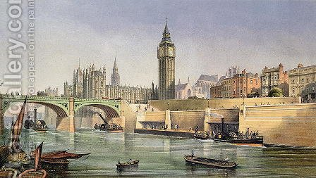 Thames Embankment showing the Steam Boat Landing Pier at Westminster Bridge, engraved by Day and Son, 1864 by (after) Thomas, Robert Kent - Reproduction Oil Painting