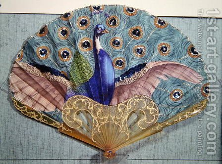 Peacock fan, circa 1905 by Adolphe Thomasse - Reproduction Oil Painting