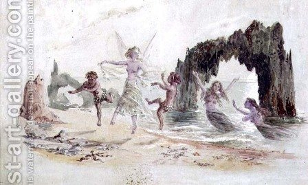 Fairies and Fauns on the Seashore by Alfred Thompson - Reproduction Oil Painting