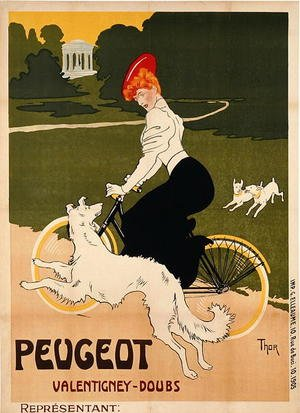 Famous paintings of Bicycling: Poster advertising Peugeot bicycles, printed by G. Elleaume, c.1910