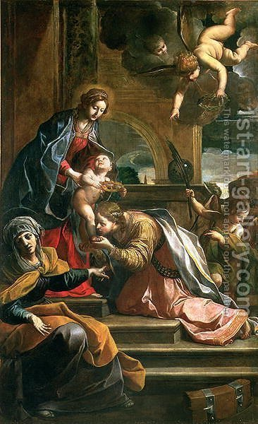 The Mystic Marriage of St. Catherine by Alessandro Tiarini - Reproduction Oil Painting