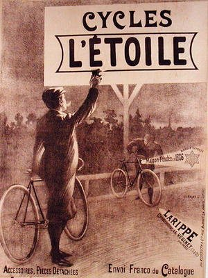 Famous paintings of Bicycling: Poster advertising cycles LEtoile, 1903