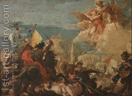 Battle Scene by Giovanni Domenico Tiepolo - Reproduction Oil Painting