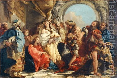 Christ and the Woman taken in Adultery by Giovanni Domenico Tiepolo - Reproduction Oil Painting