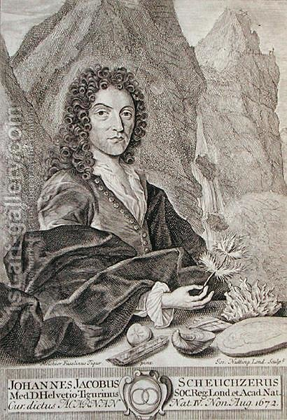 Portrait of Johann Jacob Scheuchzeri, frontispiece to Itinera Alpina by Scheuchzeri, engraved by Joseph Nutting c.1660-1722 published 1706 by (after) Tigur, Melchior Fusslinus - Reproduction Oil Painting