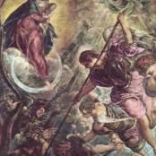 Oil painting reproductions - Mannerism - Jacopo Tintoretto (Robusti): Archangel Michael Fights Satan, c.1590