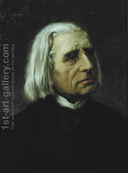 Portrait of Franz Liszt 1811-86 by Giuseppe Tivoli - Reproduction Oil Painting
