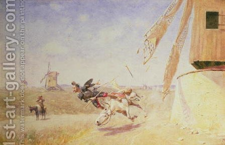 Francisco J. Torrome: Don Quixote and the Windmill - reproduction oil painting