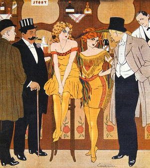 Famous paintings of Cafes & Bistros: Caricature of prostitutes with their clients, from Le Rire, 1901