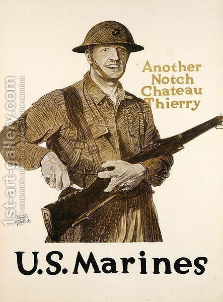 Poster for the U.S. Marines celebrating victory in the Battle of Chateau Thierry, 1918 by Adolph Treidler - Reproduction Oil Painting