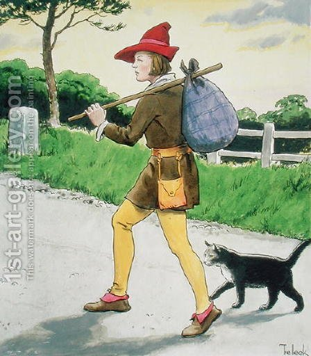 Dick Whittington 1358-1423 and his cat, from Peeps into the Past, published c.1900 by - Trelleek - Reproduction Oil Painting