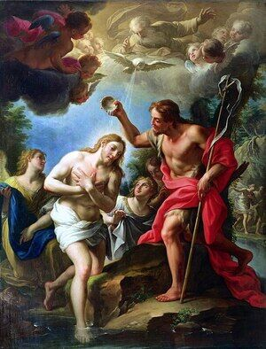 Famous paintings of Angels: The Baptism of Christ, 1723