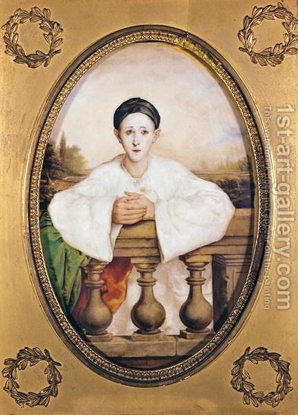 Portrait of Gaspard Deburau 1796-1846 as Pierrot, c.1815 by A. Trouve - Reproduction Oil Painting