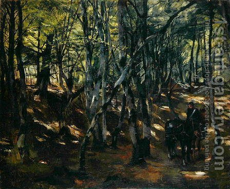 Cavalry Patrol in the Middle of a Wood, 1877 by Heinrich Wilhelm Truebner - Reproduction Oil Painting