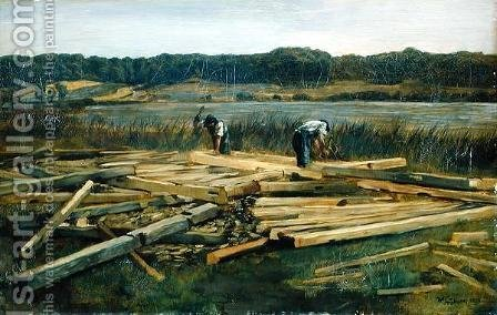 Building Site at Wesslingersee, 1876 by Heinrich Wilhelm Truebner - Reproduction Oil Painting