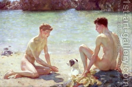 Comrades, 1924 by Henry Scott Tuke - Reproduction Oil Painting