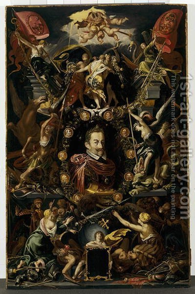 Allegory on the reign of Matthias, Holy Roman Emperor, between 1514-1615 by Aegidius Sadeler or Saedeler - Reproduction Oil Painting