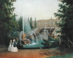 Neo-Classical painting reproductions: View of the Marly Cascade from the Lower Garden of the Peterhof Palace, c.1830-60