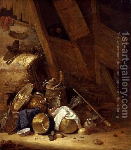 Still Life inside a Barn, 1634 by Herman Saftleven - Reproduction Oil Painting