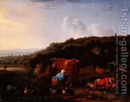 A pastoral landscape with a milkmaid and a sleeping cowherd by Herman Saftleven - Reproduction Oil Painting