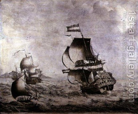 The Warship Overisjsel by Adriaen or Abraham Salm - Reproduction Oil Painting