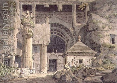 Ancient Excavations at Carli, plate XIV, engraved by Daniel Havell 1785-1826 1809 by (after) Salt, Henry - Reproduction Oil Painting