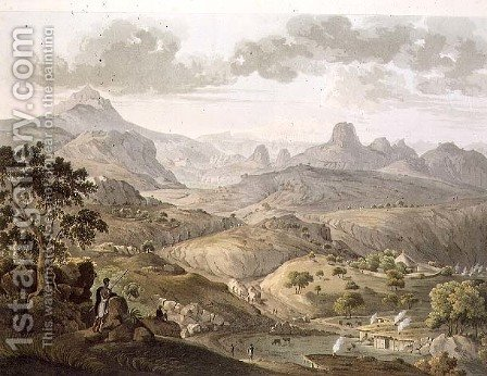 View near the Village of Asceriah, in Abyssinia, engraved by Daniel Havell 1785-1826 1809 by (after) Salt, Henry - Reproduction Oil Painting