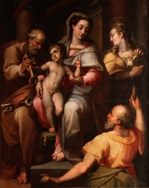 Mannerism painting reproductions: Holy Family with St. Peter and St. Mary Magdalene