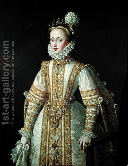 Alonso Sanchez Coello: Anne of Austria 1549-80 Queen of Spain, c.1571 - reproduction oil painting