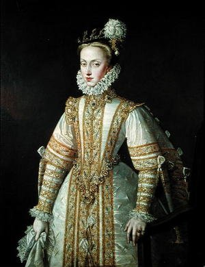 Reproduction oil paintings - Alonso Sanchez Coello - Anne of Austria 1549-80 Queen of Spain, c.1571