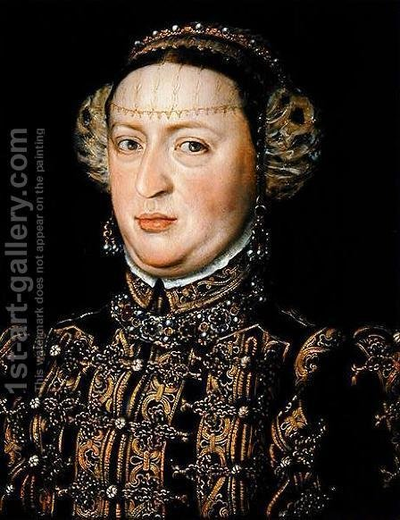 Catherine of Austria, Queen of Portugal 1507-78 by Alonso Sanchez Coello - Reproduction Oil Painting