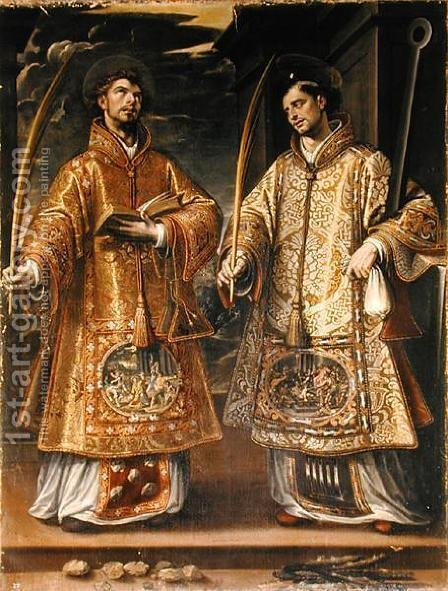 Alonso Sanchez Coello: St. Lawrence and St. Stephen, 1580 - reproduction oil painting