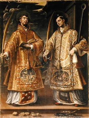 Alonso Sanchez Coello reproductions - St. Lawrence and St. Stephen, 1580