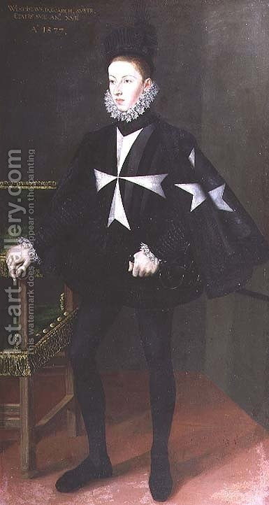 Portrait of Wenzel, Archduke of Austria 1561-78 6th son of Emperor Maximilian II, as Grand Prior of the Order of St. John Malta in Castile, 1577 by Alonso Sanchez Coello - Reproduction Oil Painting