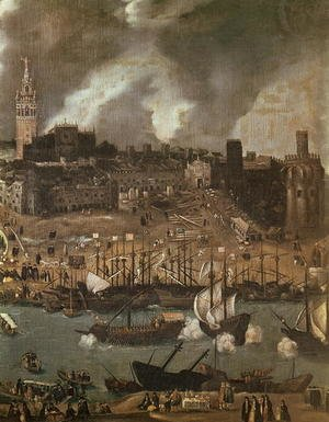 Reproduction oil paintings - Alonso Sanchez Coello - An Expedition Setting out from Seville for America in 1498