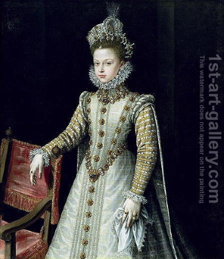 The Infanta Isabel Clara Eugenie 1566-1633 1579 by Alonso Sanchez Coello - Reproduction Oil Painting