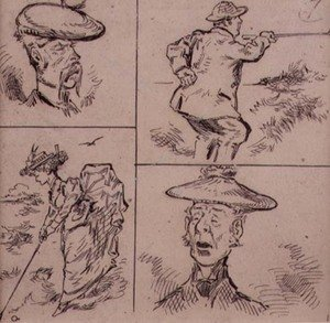 Famous paintings of Golf: Golfers, illustration from Graphic magazine, pub. c.1870