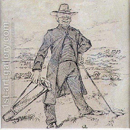 The Pensive Golfer, illustration from Graphic magazine, pub. c.1870 by Henry Sandercock - Reproduction Oil Painting