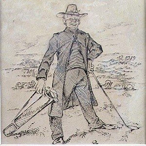 Famous paintings of Golf: The Pensive Golfer, illustration from Graphic magazine, pub. c.1870