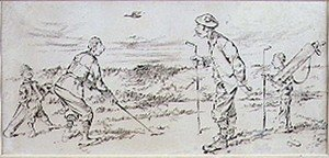 Famous paintings of Golf: Bunkered, illustration from Graphic magazine, pub. c.1870