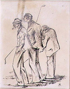 Famous paintings of Golf: The Lethargic Golfers, illustration from Graphic magazine, pub. c.1870