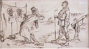 Famous paintings of Golf: The Golfer being disturbed by the Salesman, illustration to Graphic magazine, pub. c,1870