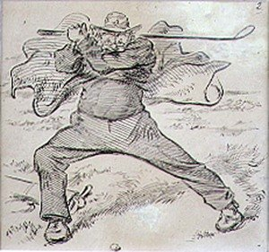 Famous paintings of Golf: The Chaotic Golfer, illustration from Graphic magazine, pub. c.1870